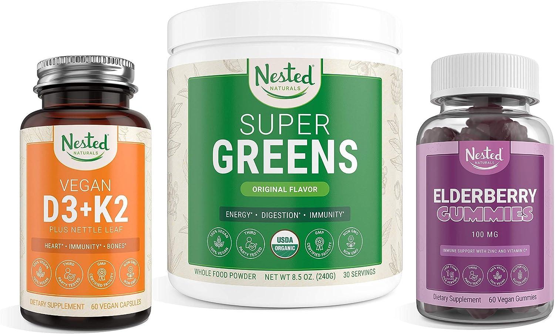 Nested Naturals Ranking TOP1 Immunity Bundle Super Greens Vitamin D3+K2 overseas +