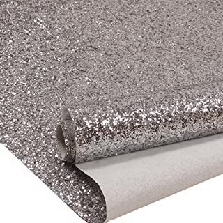 Silver Chunky Glitter Wallpaper, Sparkly Glitter Fabric Wall Paper,Bling Wallcovering (27in x 16.4ft (One Roll))
