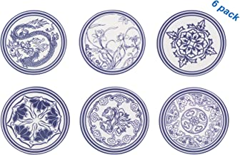 L-COOL 4 inch Chinese Traditional Blue And White Porcelain Pattern Thicken Food- Grade Silicone Drink Coasters Set of 6,Non-slip And High Temperature Resistant(200 ° C),Fits Any Size Cup Mug or Glass
