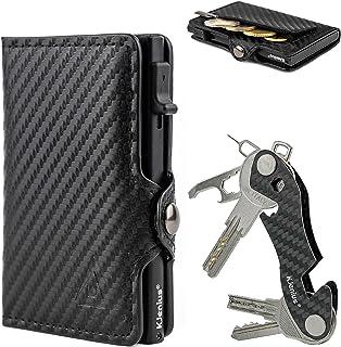 Portefeuille Porte-Cartes de crédit Homme, Cuir et Fibre de Carbone Protection RFID NFC Anti-fraude Slim Slim Zip Porte-Mo...
