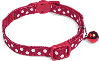 Petface White Dots Cat Collar with Safety Clip and Bell, , Red