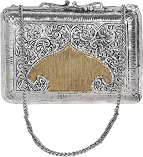 Silver Handmade Carving Vintage Brass Purse antique Ethnic Handmade Women metal clutch Bag clutches for women party wear
