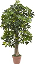 Nearly Natural 4ft. Schefflera (Real Touch) Silk Tree, Green