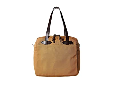 Filson Rugged Twill Tote Bag with Zipper (Tan) Tote Handbags
