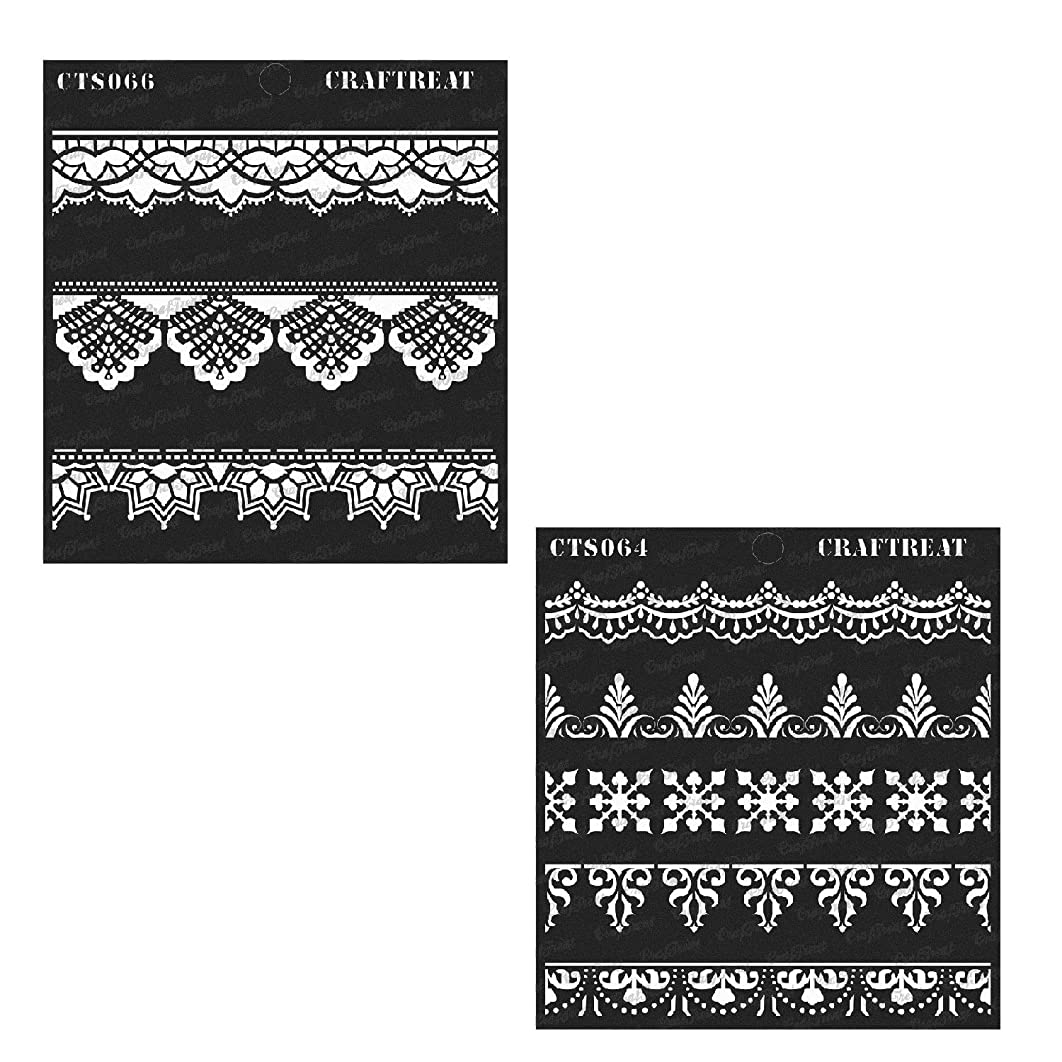 Craftreat Stencil - Ornate Border & Lace Border (2 pcs) | Reusable Painting Template for Home Decor, Crafting, DIY Albums, Scrapbook and Printing on Paper, Floor, Wall, Tile, Fabric, Wood 6