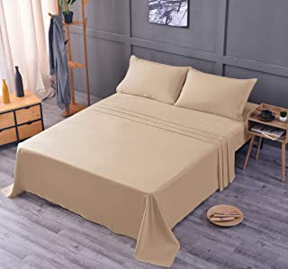Cool Bamboo Ultra Soft Sheet Set – 100% Bamboo, Wrinkle and Shrink Resistant, Deep Pocket, Machine Washable, Hypoallergenic, Fade Resistant Bedding Sheet – 3 Piece Set (Twin/XL, Beige)