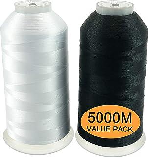 New brothread 2er Set WeißSchwarz Polyester Maschinen Stickgarn Riesige Spule 5000M für alle Stickmaschine