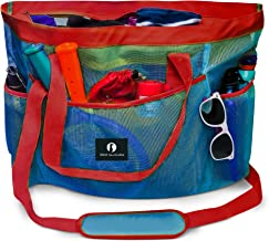 Red Suricata Large Mesh Beach Bag – Mesh Beach Tote Bag with Pockets - Beach Bags and Totes for Women with Zipper & 7 Large Elastic Pockets for Beach Accessories - Water Aerobics Bag (Blue/Red)