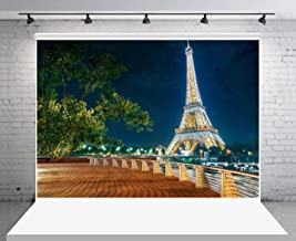 GESEN Eiffel Tower Backdrop 10x7ft Romantic Paris Night View Photography Backdrop for Pictures Themed Party You Tube Background Photo Props PGGE675