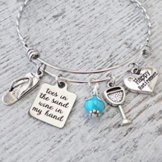 Happy Retirement Gifts for Her, Toes in the Sand Wine in My Hand Bangle Bracelet Jewelry Wine Lover
