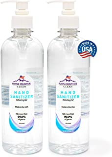 Made in U.S.A. 70% Alcohol | 2-Pack 16 oz Bottles with Hassle-Free Pump | Quick-Drying Purple Mountain Hand Sanitizer Gel ...