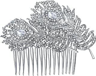 EVER FAITH Women's Austrian Crystal Wedding Banquet Elegant 2 Peacock Feather Hair Comb