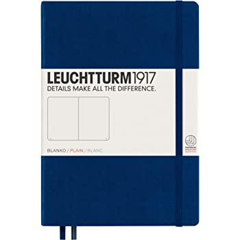 LEUCHTTURM1917 Medium A5 Lined Hardcover Notebook (Navy) - 249 Numbered Pages