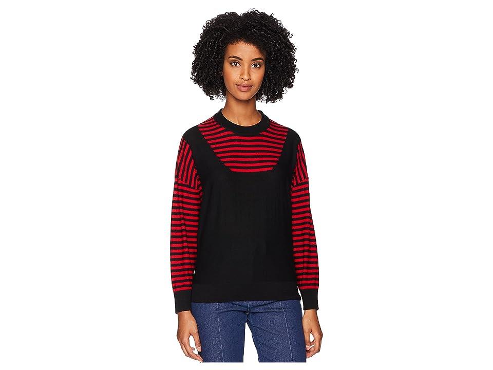 Sonia Rykiel Finewool Stripes Long Sleeve Sweater (Black/Red) Women