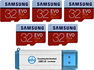 Samsung 32GB Evo Plus MicroSD Card (5 Pack Bundle) Class 10 SDHC Memory Card with Adapter (MB-MC32G) with (1) Everything But Stromboli (TM) 3.0 Reader with SD & Micro (TF) Slots
