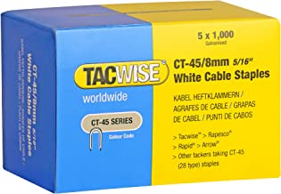 Tacwise CT-45-serien 8 mm vita kabelhäftklammer (paket med 5; 1000 stycken vardera)