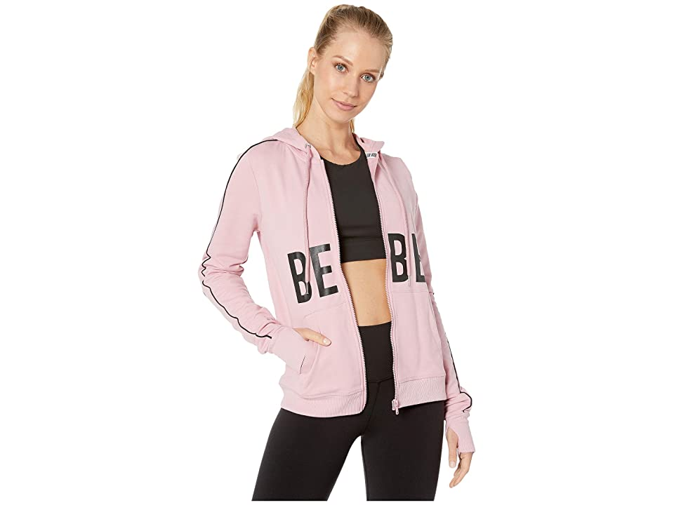 Bebe Sport Logo Panel Zip-Up Hoodie (Peony) Women