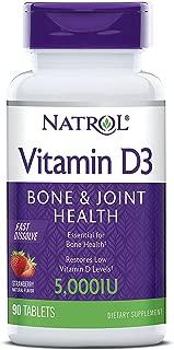 Natrol Vitamin D3 Fast Dissolve 5000 IU Capsules, Strawberry, 90 Count