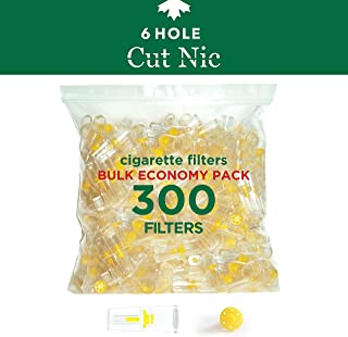 Cut-Nic 6 Hole Disposable Cigarette Filters - Bulk Economy Pack (300 Per Pack) Filter Tips