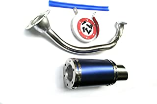 USonline911 High Performance Exhaust System Muffler for GY6 50cc-400cc 4 Stroke Scooters ATV Go Kart (Blue)