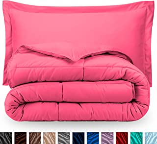 Bare Home Comforter Set - Twin/Twin Extra Long - Goose Down Alternative - Ultra-Soft - Premium 1800 Series - Hypoallergenic - All Season Breathable Warmth (Twin/Twin XL, Pink)