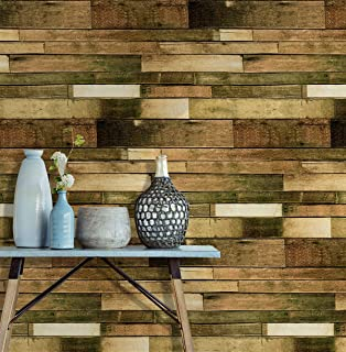 Wood Contact Paper Self Adhesive Removable Wood Peel and Stick Wallpaper Decorative Wall Covering Blue/Brown Wood Panel Interior Film Leave No Trace Surfaces Easy to Clean(17.71 In X 118 In )