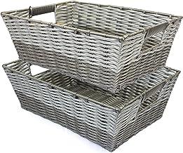 "Storage Bins (Set Of 2) Large Woven Wicker Baskets Grey Two-Tone - 5"" Deep"