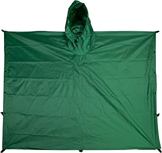 TOUGH-GRID Ripstop SilNylon Poncho and Emergency Shelter - Extra Long, Backpack Extension, Rust-Resistant Snaps, Hood, 6 Tie-Down Loops and Mesh Bag - Made in The USA.