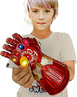 XXF New Iron Man Infinity Gauntlet for Kids, Infinity Glove with Removable Magnet Infinity LED Stones-3 Flash Mode. (red)