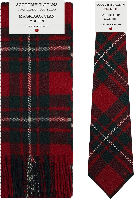MacGregor Clan Modern Tartan Plaid 100% Lambswool Scarf & Tie Gift Set