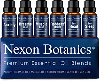 Nexon Botanics Essential Oil Blends Set - Best Essential Oils Blends for Diffuser and Aromatherapy - Anxiety, Breathe Ease, Muscle Ease, Robber's Health, Zen Head, Sleep -Essential Oil Kit 6 x 10 ml