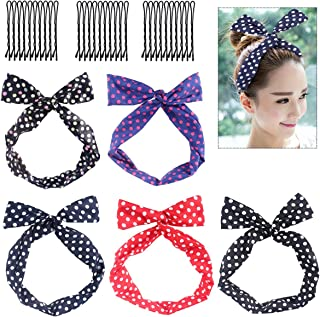 Frcolor Twist Bow Headbands, 5pcs Retro Polka Dot Wired Headband Scarf Set with 30pcs Bobby Pins for Women and Girls