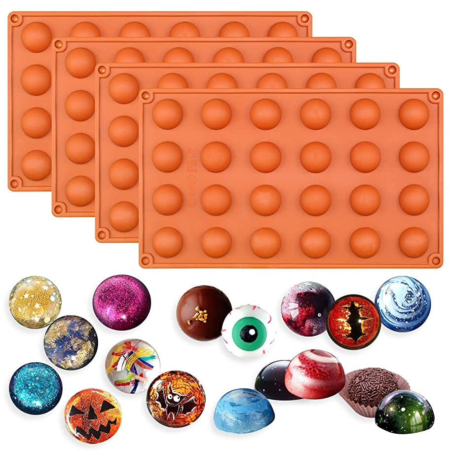 Funshowcase 24 Cavity Mini Semi Sphere Half Round Silicone Mold Chocolate Teacake Fondant Candy Tray 1inch Cavities