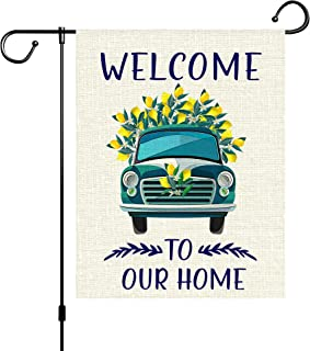 Sfcddtlg Welcome Summer Garden Flag-Lemon Car Double Sided Yard Burlap Banner for Summer Beach Yard Home Outdoor Décor (Le...