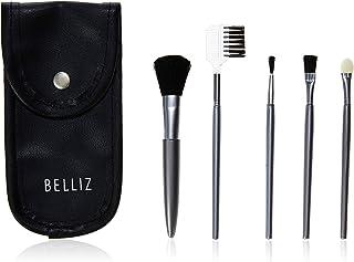 Conjunto Pincéis Maquiagem de Bolsa, Belliz, Champanhe/Metal Prata
