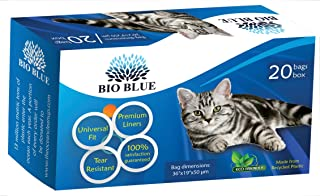 Bio Blue Cat Litter Box Liners - Eco Friendly - 20 Premium Drawstring Liners Per Box - Universal Fit - Strong, Flexible, Tear Resistant