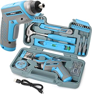 Hi Spec 35 Piece Blue Home DIY Tool Kit with USB Rechargeable 3.6V Electric Power Screwdriver. Easy Repair with Household Hand Tools & Picture Hanging Kit. All In a Portable Box