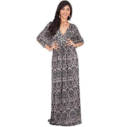 a03a3a7640 KOH KOH Womens Long Kaftan Printed Short Sleeve Empire Waist V-Neck Maxi  Dress