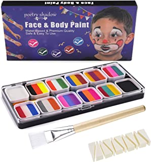 FANICEA Rainbow Face Painting Kit 12 Colors Professional Safe Non Toxic SFX Water Based Split Cake Body Paint Palette Make...