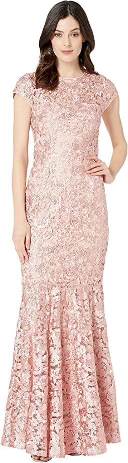 Metallic Lace Cap Sleeve Keyhole Back Gown
