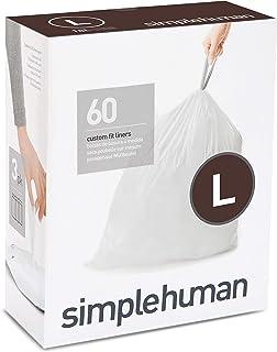 simplehuman CW0407 Code L Custom Fit Bin Liner Bulk Pack, White Plastic (3 Pack of 20, Total 60 Liners)