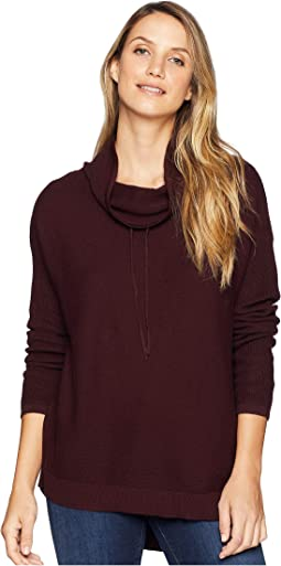 Relaxed Drawstring Funnel Neck Sweater