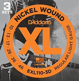 D'Addario EXL110-3D Nickel Wound Electric Strings Light 3-Pack