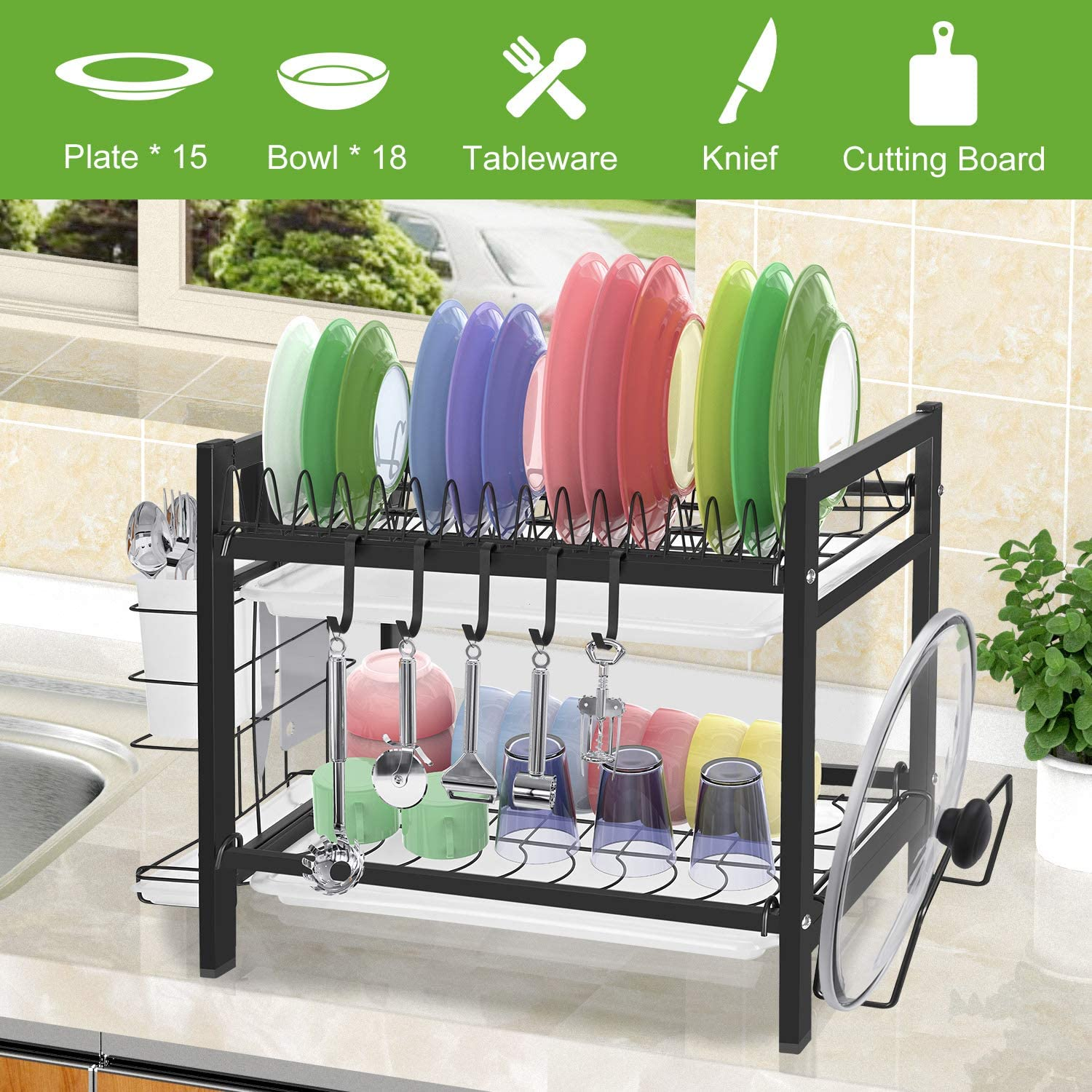 Buy Dish Drying Rack With Drainboard 2 Tier Dish Rack For Kitchen Counter Stainless Steel Dish Drainer Rack With Utensil Holder Cutting Board Holder Rustproof Dish Strainer Drying Rack With Drainage