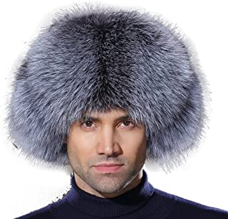 a4df4536f38 URSFUR Winter Mens Trapper Hat Real Leather and Fox Fur Russian Ushanka Cap