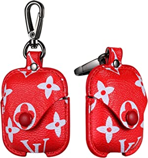 Gift-Hero Compatible with Airpods 1&2 Case,Luxury Leather Shockproof Airpod Cover Stylish Designer Fashion Fun Cool Chic Keychain Design Skin Protective Cases for Girls Man Woman Air pods(Red Bag)