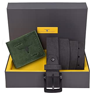 Urban Forest Carter Grey Leather Wallet and Belt Combo Gift Set for Men - Classic Green Leather Wallet and Grey Leather Belt Combo