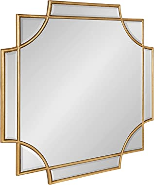 """Kate and Laurel Minuette Glam Square Wall Mirror, 24"""" x 24"""", Gold, Elegant Traditional Home Decor with A Boho Charm"""