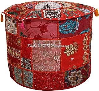 DK Homewares Pouf Rond Ethnique Pouf Patchwork Rouge en Coton brodé avec Housse de Pouf pour Pouf décoratif Repose-Pieds R...