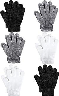 Sponsored Ad - Motarto 6 Pairs Kid's Winter Magic Gloves Soft Chenille Cashmere Warm Gloves Stretchy Knit Gloves